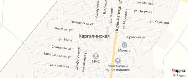 Комсомольская улица на карте Каргалинской станицы с номерами домов