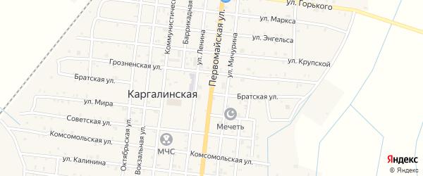 Первомайская улица на карте Каргалинской станицы с номерами домов