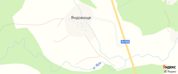 Яндовищенская улица на карте деревни Яндовища с номерами домов