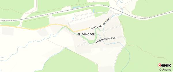СТ Рябинушка на карте поселка Мыслеца с номерами домов