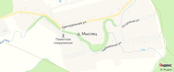Заовражная улица на карте поселка Мыслеца с номерами домов