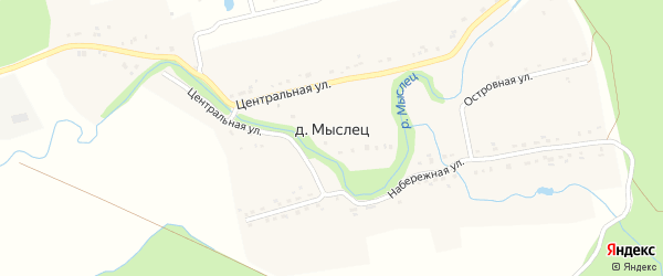 Островная улица на карте деревни Мыслеца с номерами домов