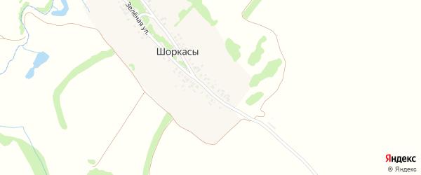 Набережная улица на карте деревни Шоркас с номерами домов