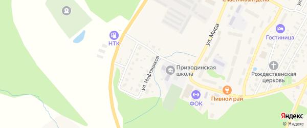 Улица Нефтяников на карте поселка Приводино с номерами домов
