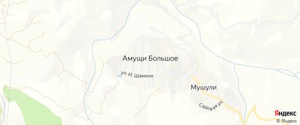 Карта села Амуши в Дагестане с улицами и номерами домов
