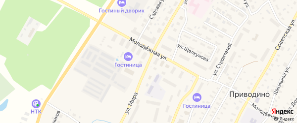 Улица Мира на карте поселка Приводино с номерами домов