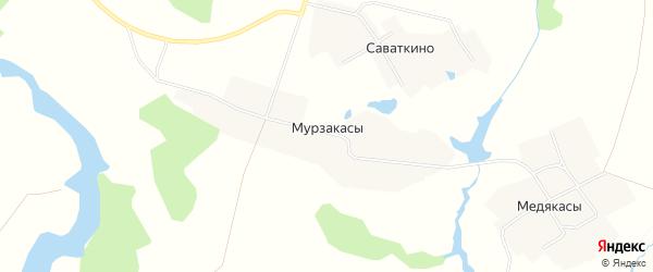 Карта деревни Мурзакасы в Чувашии с улицами и номерами домов