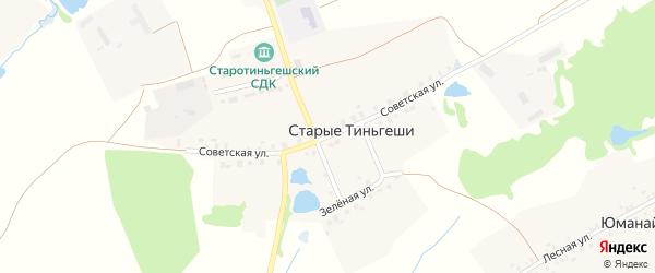 Советская улица на карте деревни Старые Тиньгеши с номерами домов