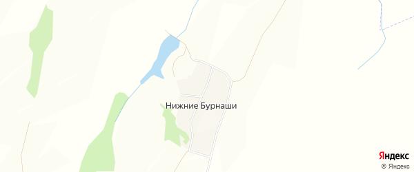 Карта деревни Нижние Бурнаши в Чувашии с улицами и номерами домов