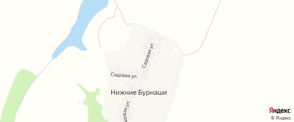 Садовая улица на карте деревни Нижние Бурнаши с номерами домов