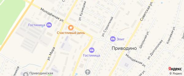 Улица Строителей на карте поселка Приводино с номерами домов