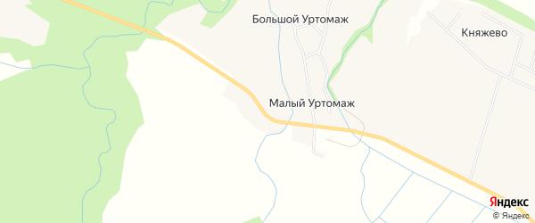 Карта поселка Малого Уртомаж в Архангельской области с улицами и номерами домов
