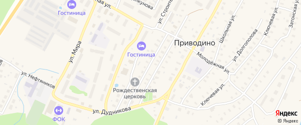 Приводинская улица на карте поселка Приводино с номерами домов