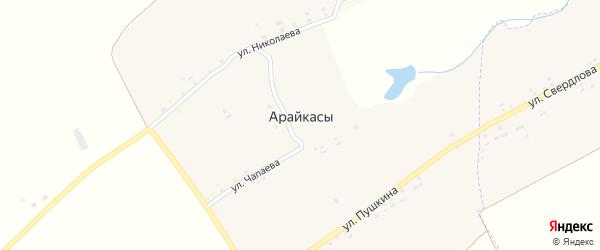 Улица Пушкина на карте деревни Арайкас с номерами домов