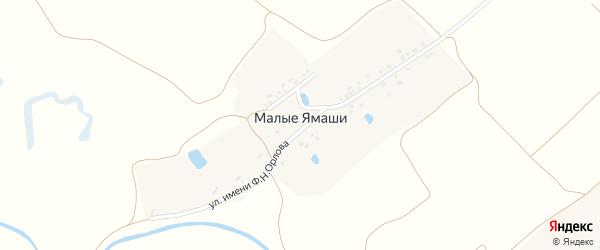 Луговая улица на карте деревни Малые Ямаши с номерами домов