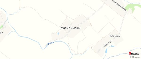 Карта деревни Малые Ямаши в Чувашии с улицами и номерами домов