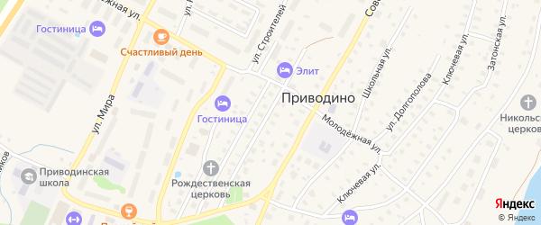 Рощинская улица на карте поселка Приводино с номерами домов