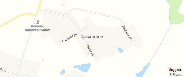Зеленая улица на карте деревни Саваткино с номерами домов