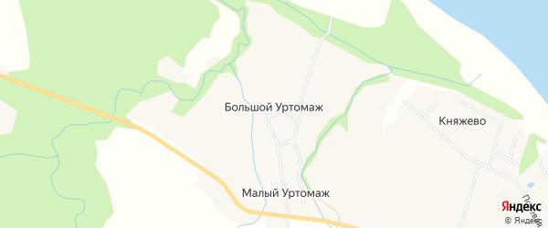 Карта деревни Большого Уртомажа в Архангельской области с улицами и номерами домов