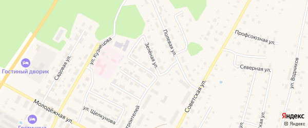 Зеленая улица на карте поселка Приводино с номерами домов