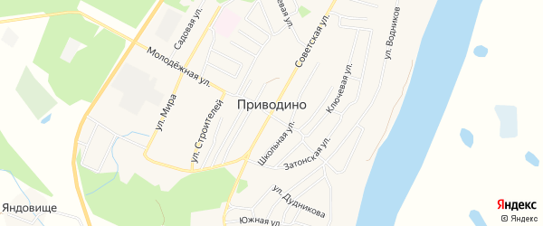 Карта поселка Приводино в Архангельской области с улицами и номерами домов
