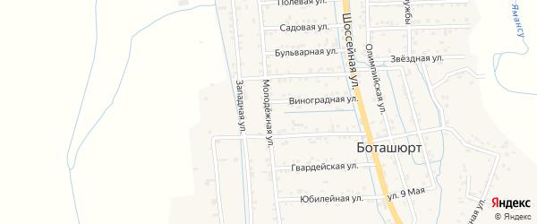 Молодежная улица на карте села Боташюрта с номерами домов