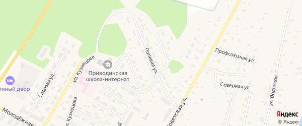 Полевая улица на карте поселка Приводино с номерами домов