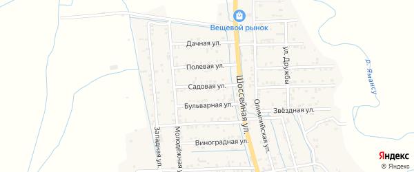 Садовая улица на карте села Боташюрта с номерами домов