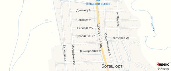Бульварная улица на карте села Боташюрта с номерами домов