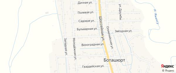 Санитарная улица на карте села Боташюрта с номерами домов