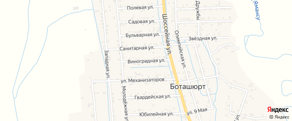 Виноградная улица на карте села Боташюрта с номерами домов