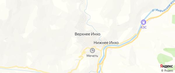 Карта села Верхнего Инхо в Дагестане с улицами и номерами домов