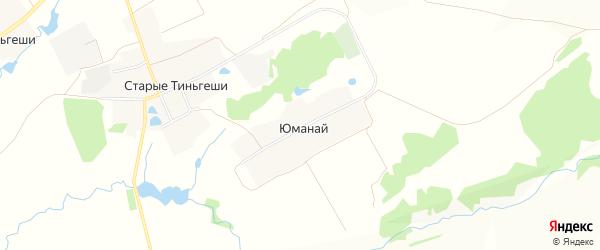 Карта деревни Юманая в Чувашии с улицами и номерами домов