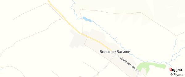 Карта деревни Большие Багиши в Чувашии с улицами и номерами домов
