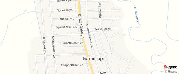 Олимпийская улица на карте села Боташюрта с номерами домов