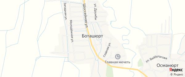 Карта села Боташюрта в Дагестане с улицами и номерами домов