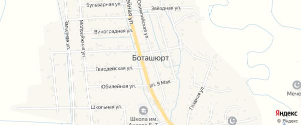 Западная улица на карте села Боташюрта с номерами домов