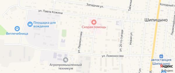Зеленая улица на карте поселка Шипицыно с номерами домов