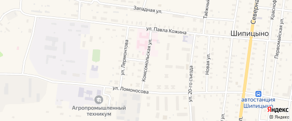 Комсомольская улица на карте поселка Шипицыно с номерами домов
