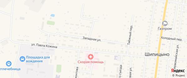Западная улица на карте поселка Шипицыно с номерами домов