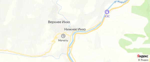 Карта села Нижнего Инхо в Дагестане с улицами и номерами домов