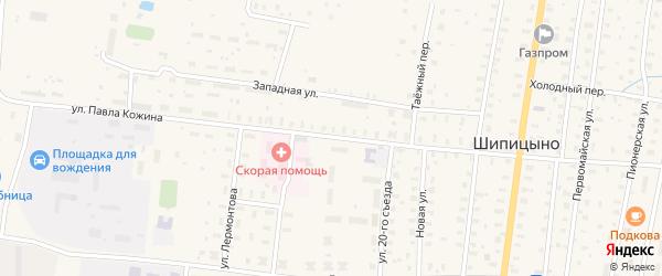 Улица П.Кожина на карте поселка Шипицыно с номерами домов