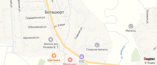 Главная улица на карте села Боташюрта с номерами домов