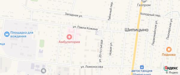 Дорожная улица на карте поселка Шипицыно с номерами домов