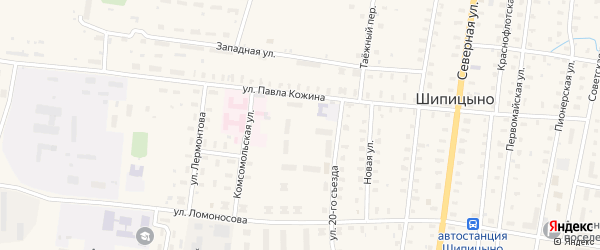 Сосновая улица на карте поселка Шипицыно с номерами домов