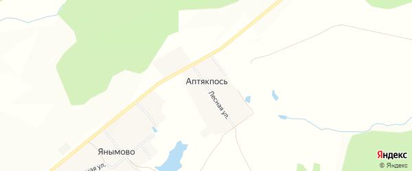 Карта деревни Аптякпоси в Чувашии с улицами и номерами домов
