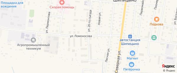 Улица Ломоносова на карте поселка Шипицыно с номерами домов