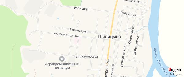 Карта поселка Шипицыно в Архангельской области с улицами и номерами домов