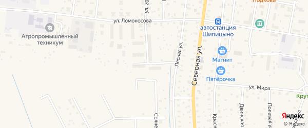 Строительная улица на карте поселка Шипицыно с номерами домов