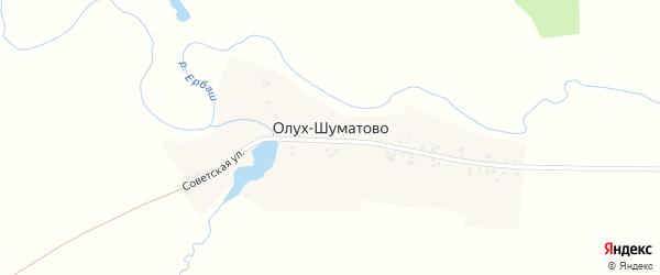 Советская улица на карте деревни Олух Шуматово с номерами домов